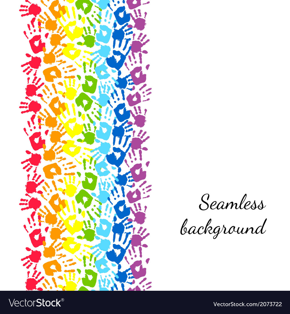 Color hands rainbow seamless border background vector