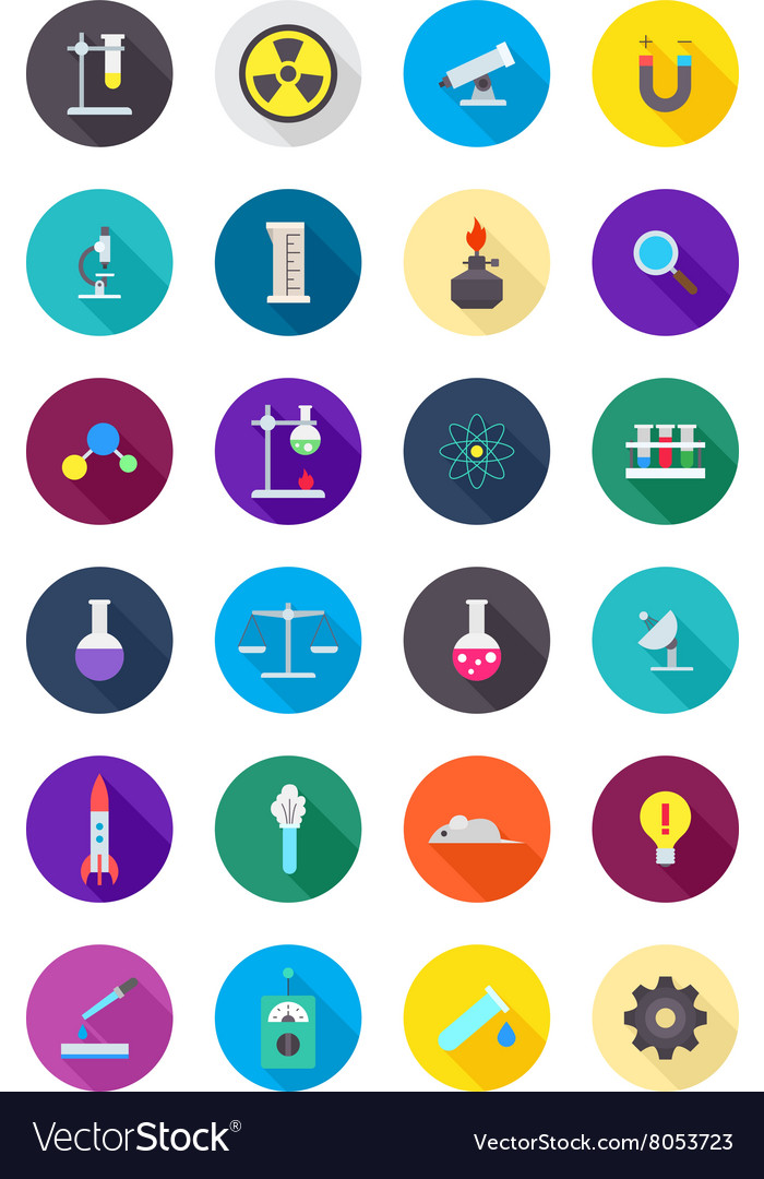 Color round science icons set vector