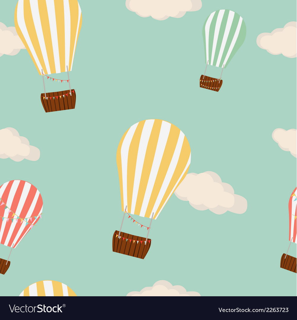 Hot air balloon in the sky seamless background vector
