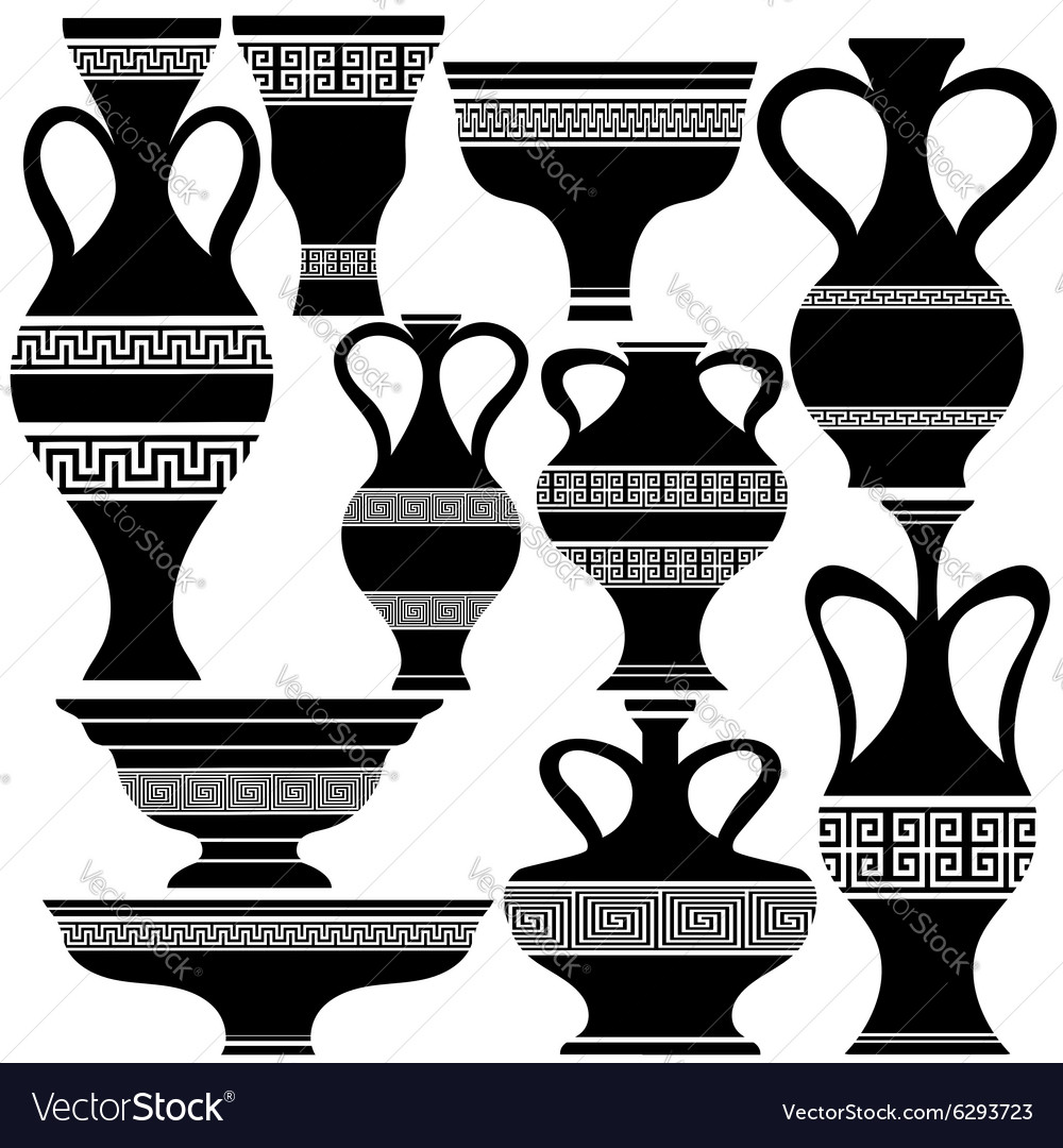 Set of greek amphora silhouettes vector