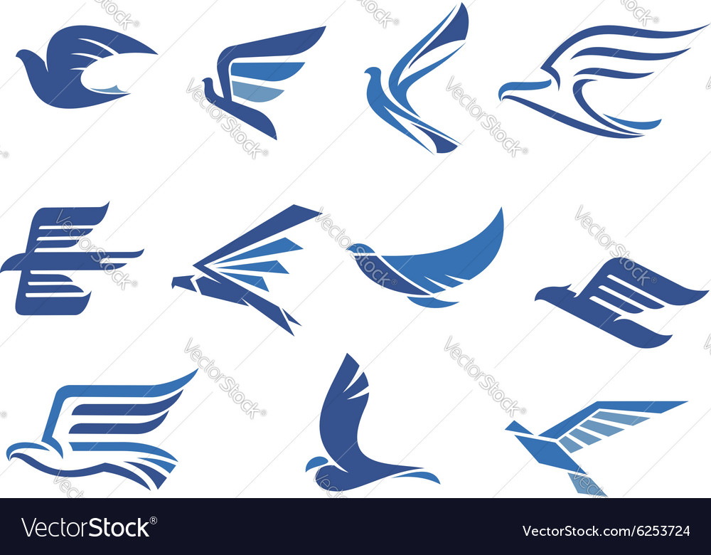 Abstract fast flying blue birds vector