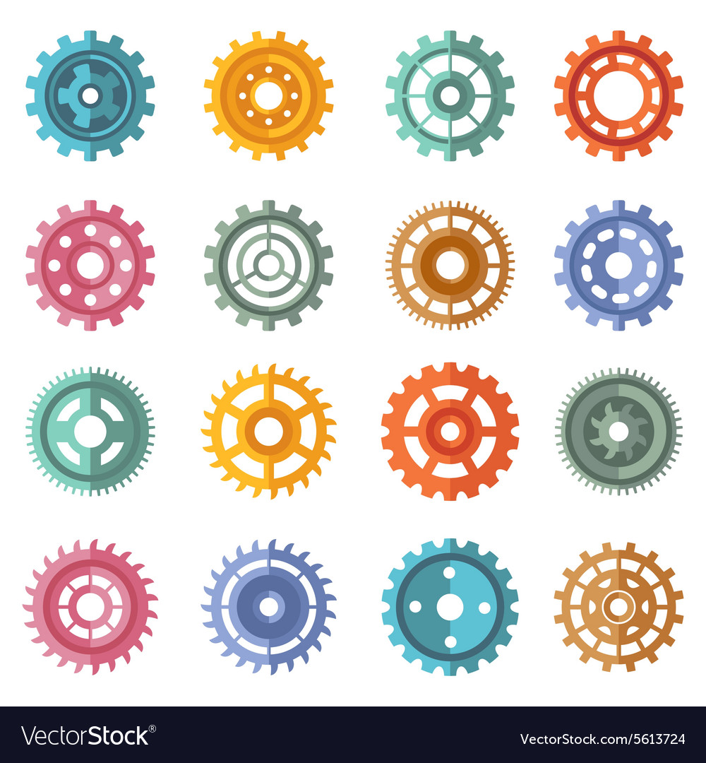 Various style color gears set vector
