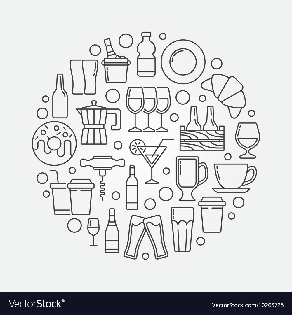 Cafe and bar circular vector