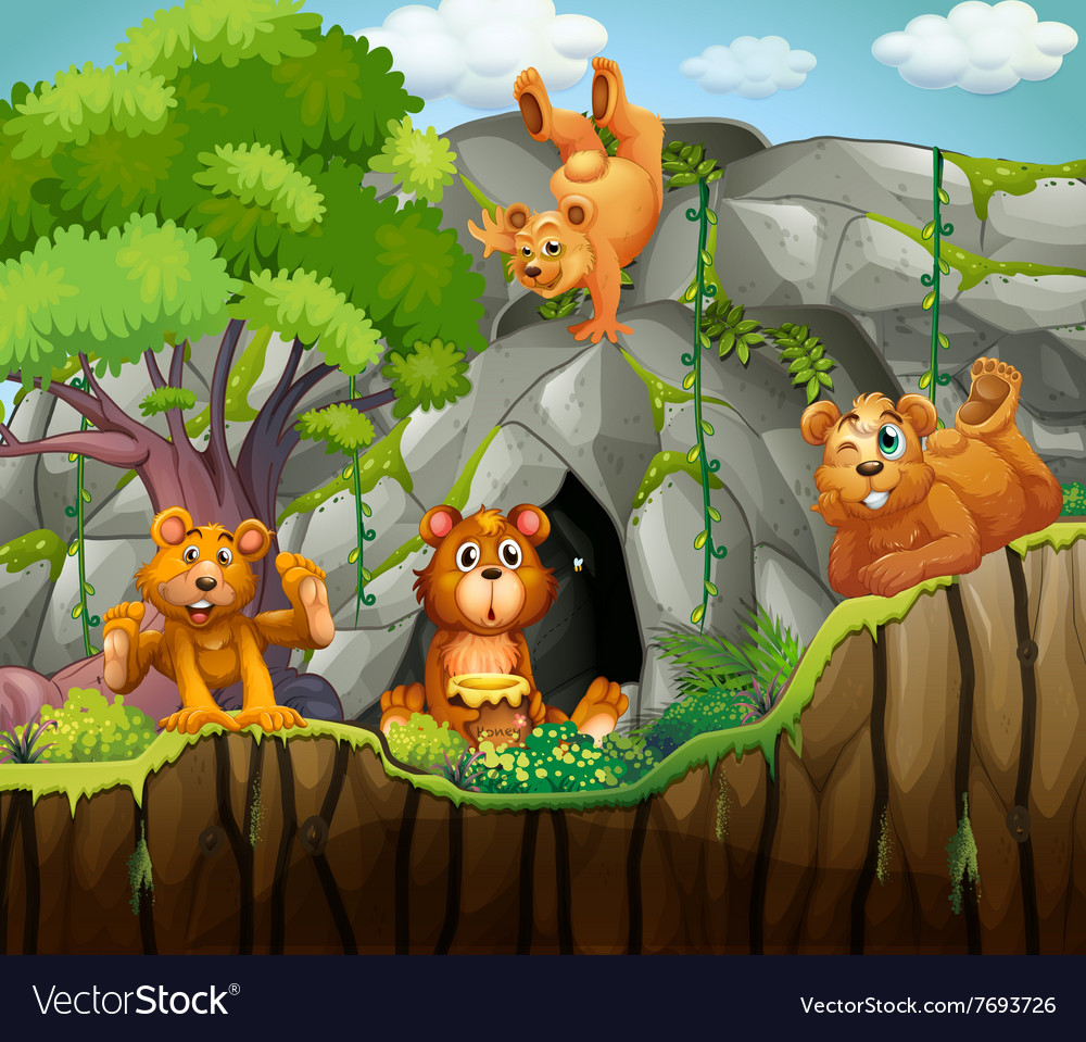 Four bears living in the cave vector