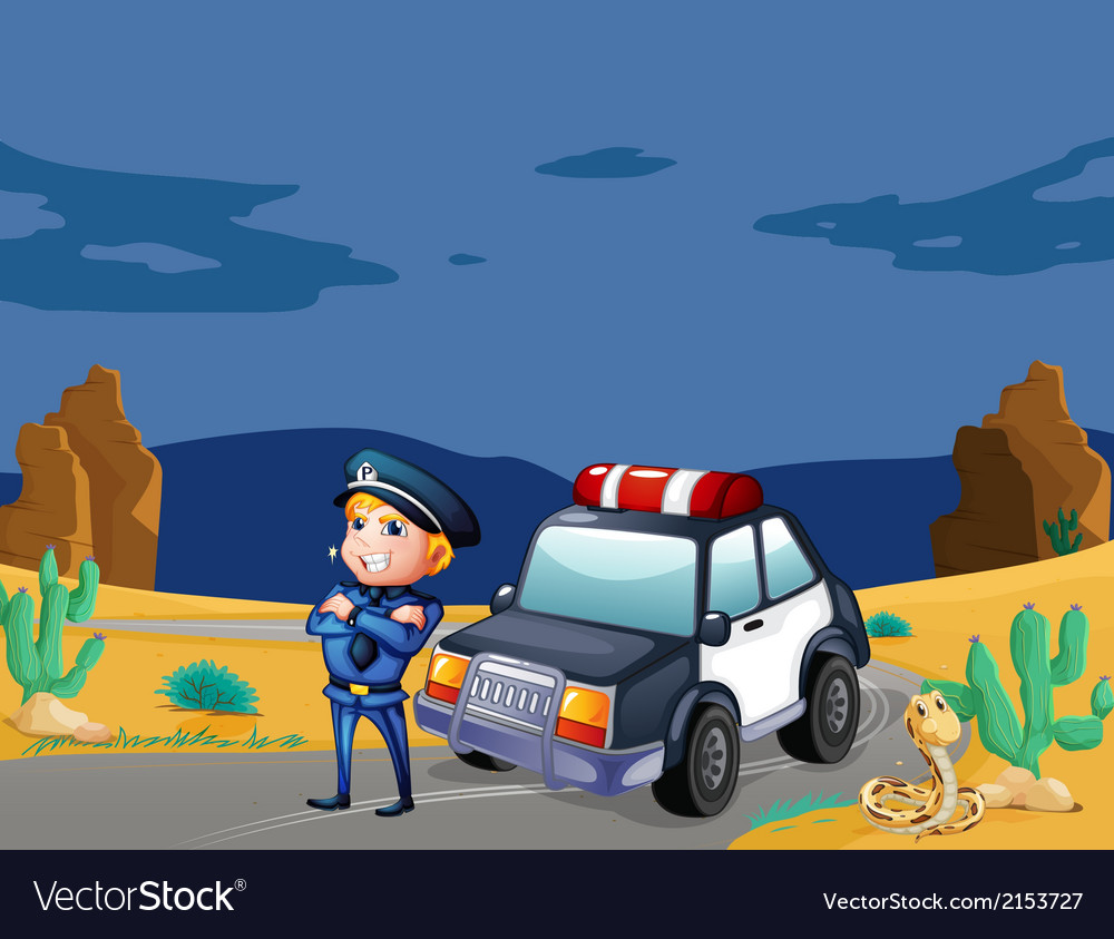 A smiling policeman beside the patrol car vector