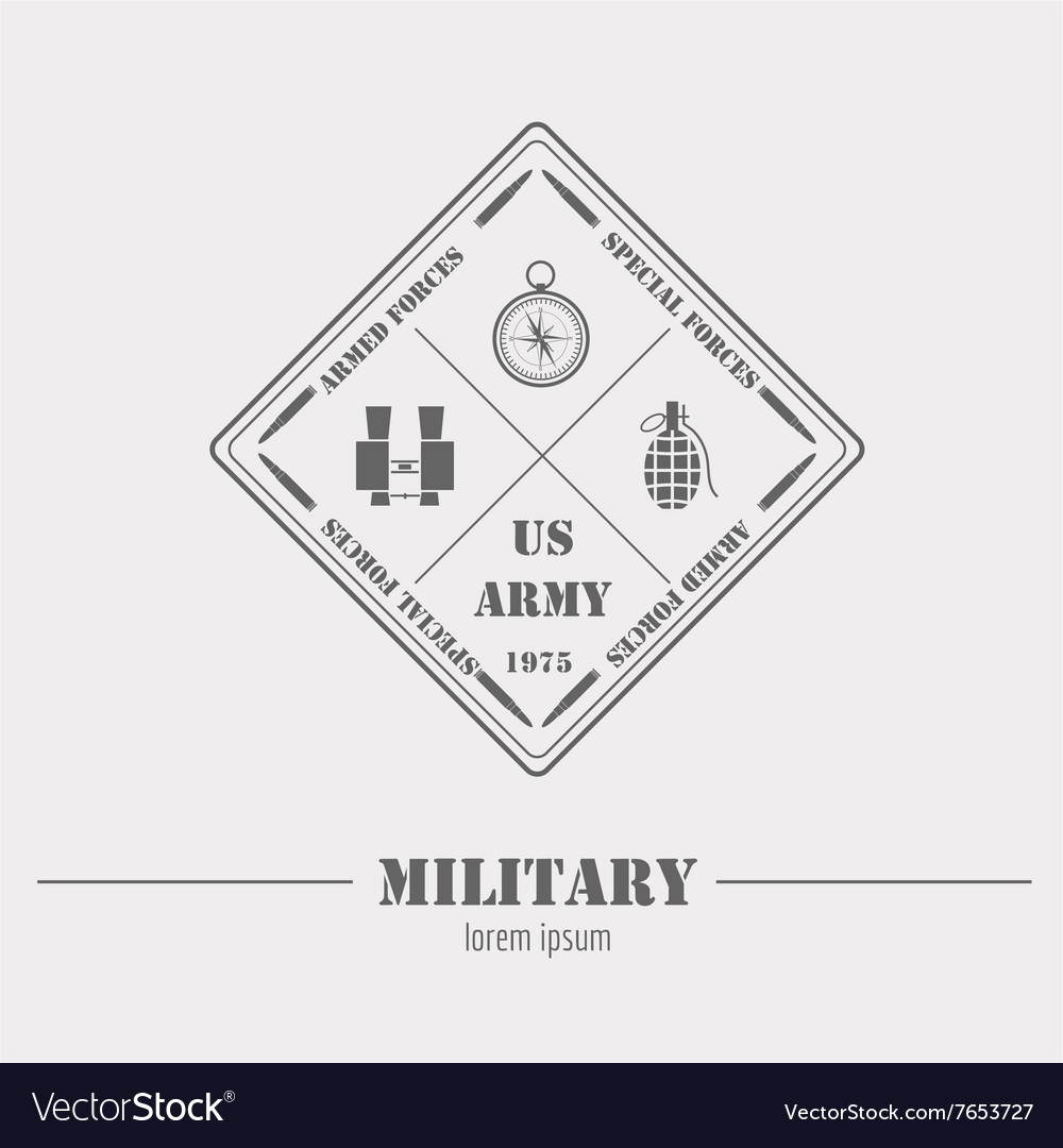 Military logo and badge binoculars compass grenade vector