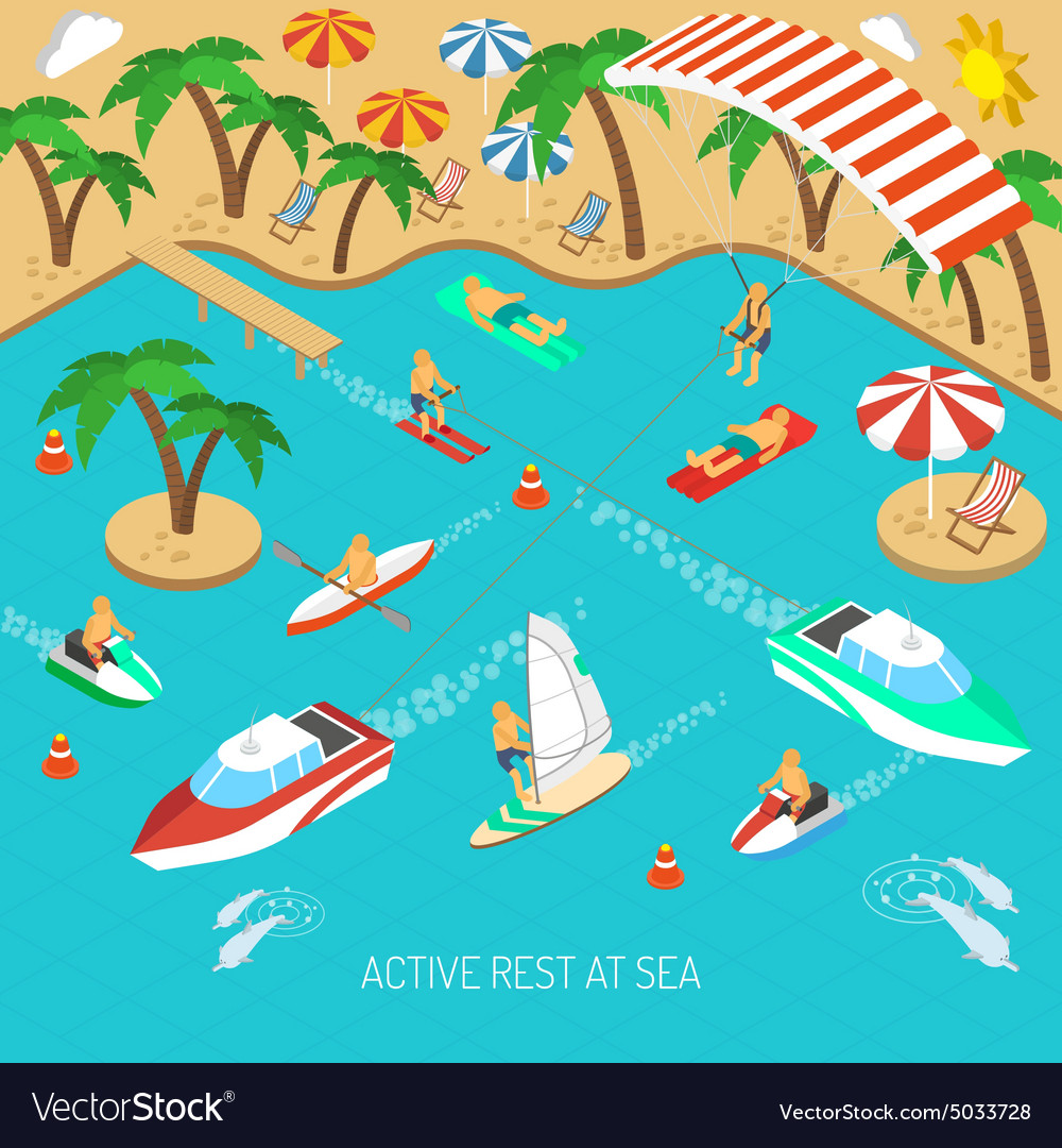 Active rest at sea concept vector