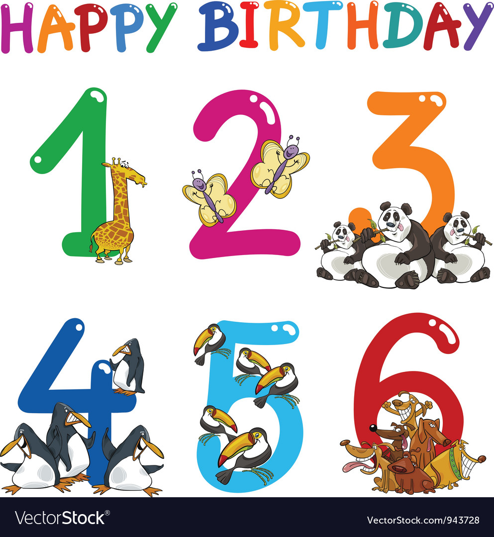 Birthday anniversary cartoons set vector