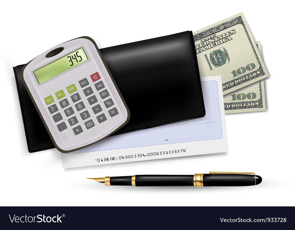 Black checkbook with pen and dollars vector
