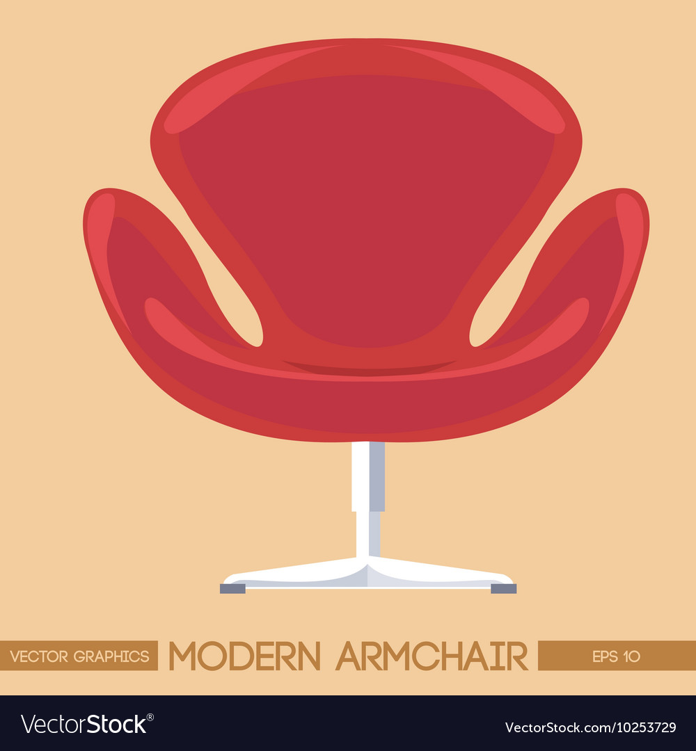 Red modern armchair over peach background digital vector