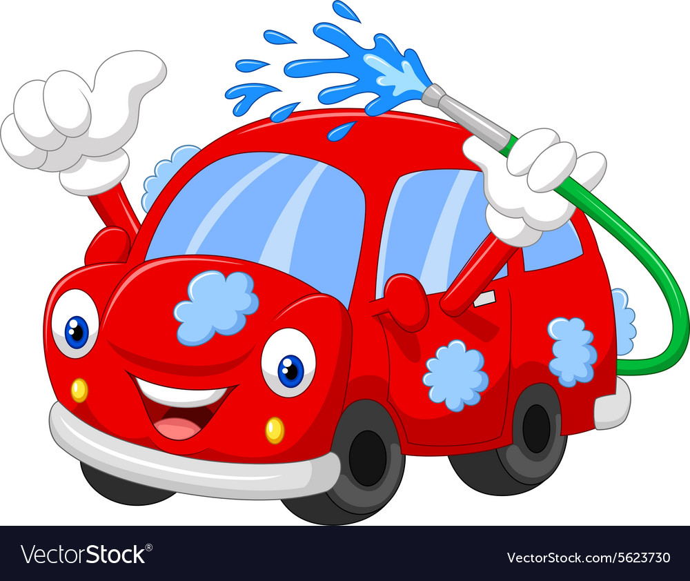 Cartoon car giving thumb up vector