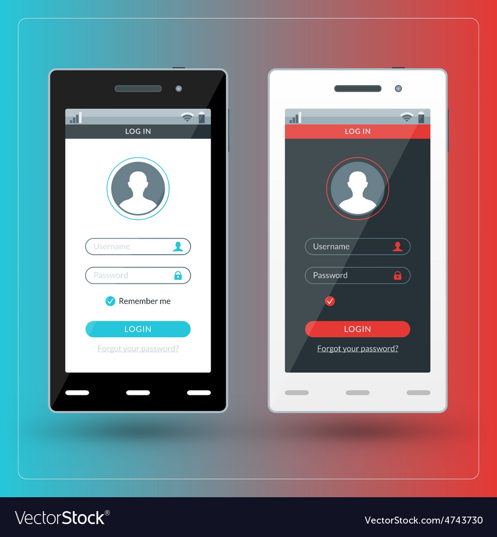 Modern smartphone with registration screen flat vector