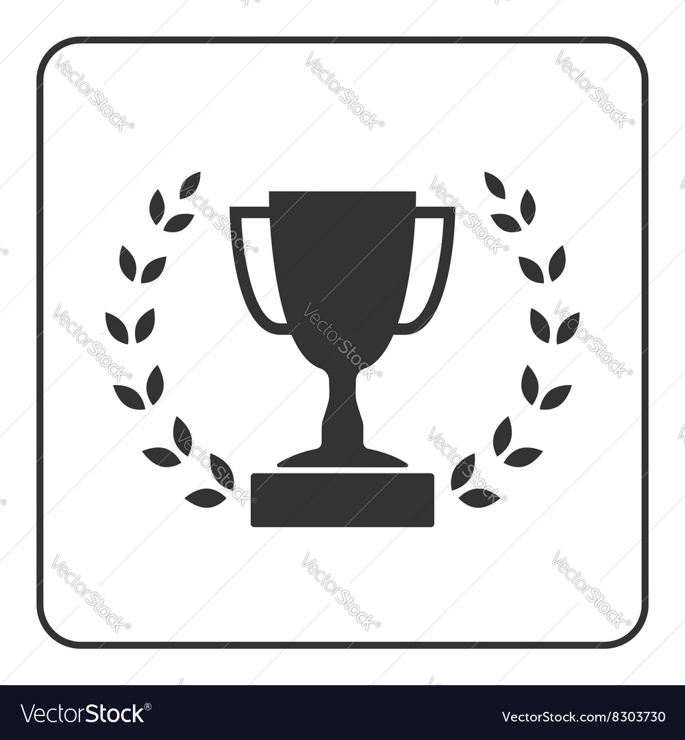 Trophy cup with laurel wreath icon 3 vector