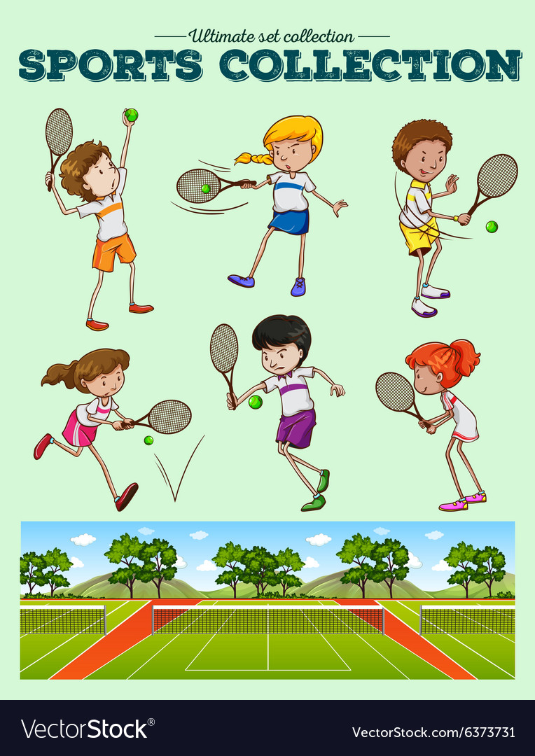 Tennis players and tennis courts vector
