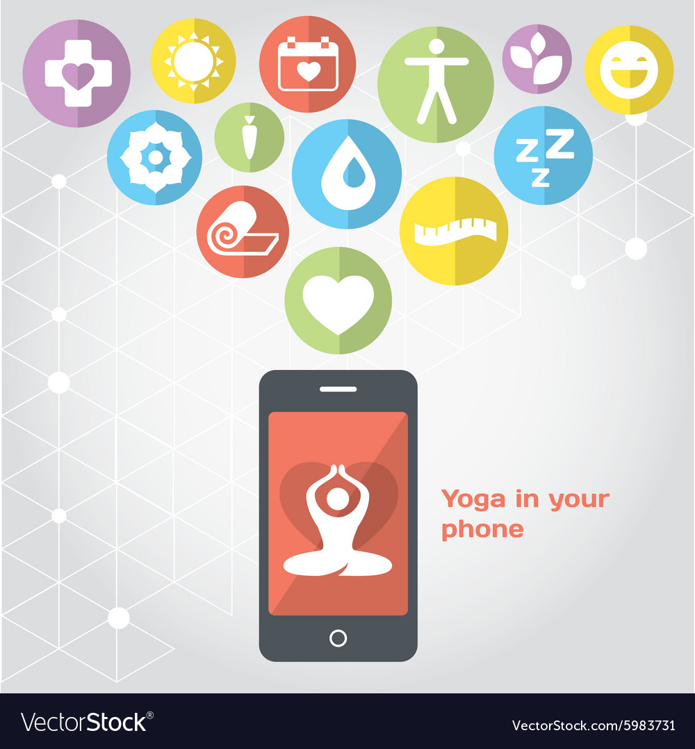 Yoga in your phone  healthy lifestyle vector