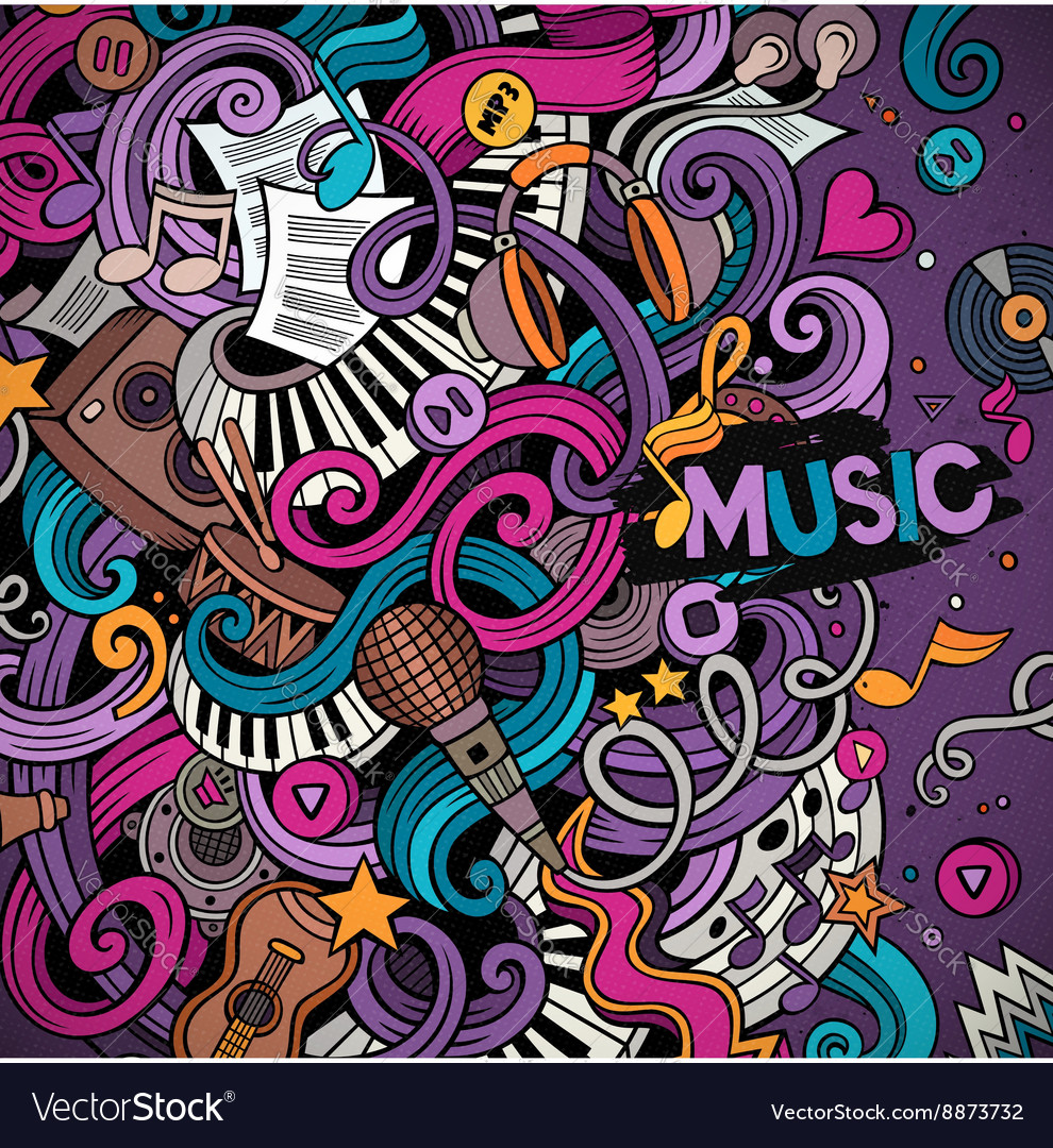 Cartoon handdrawn doodles musical vector