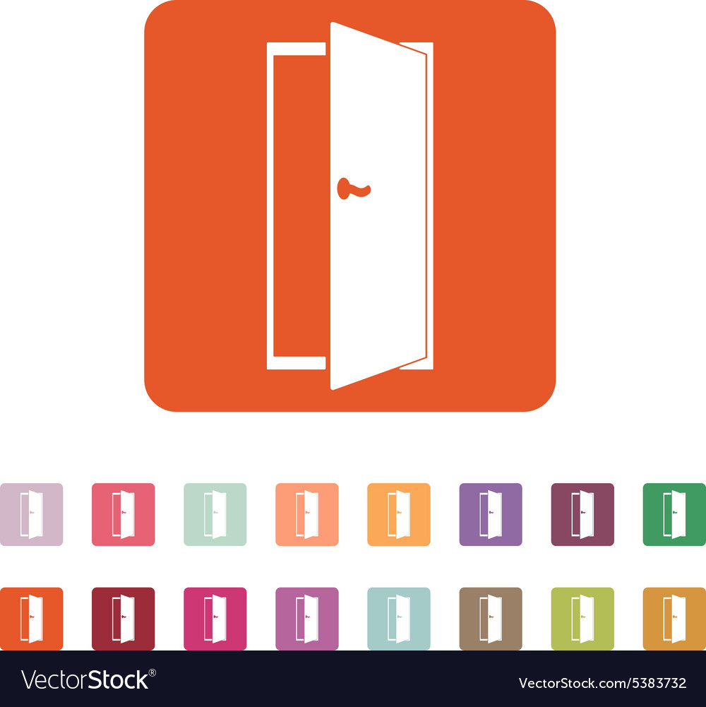 Door icon exit and login symbol flat vector