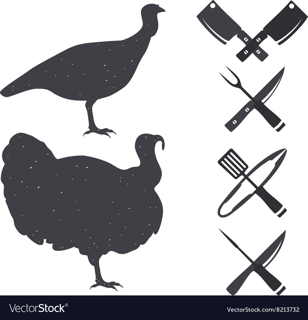 Silhouettes of a turkey vector