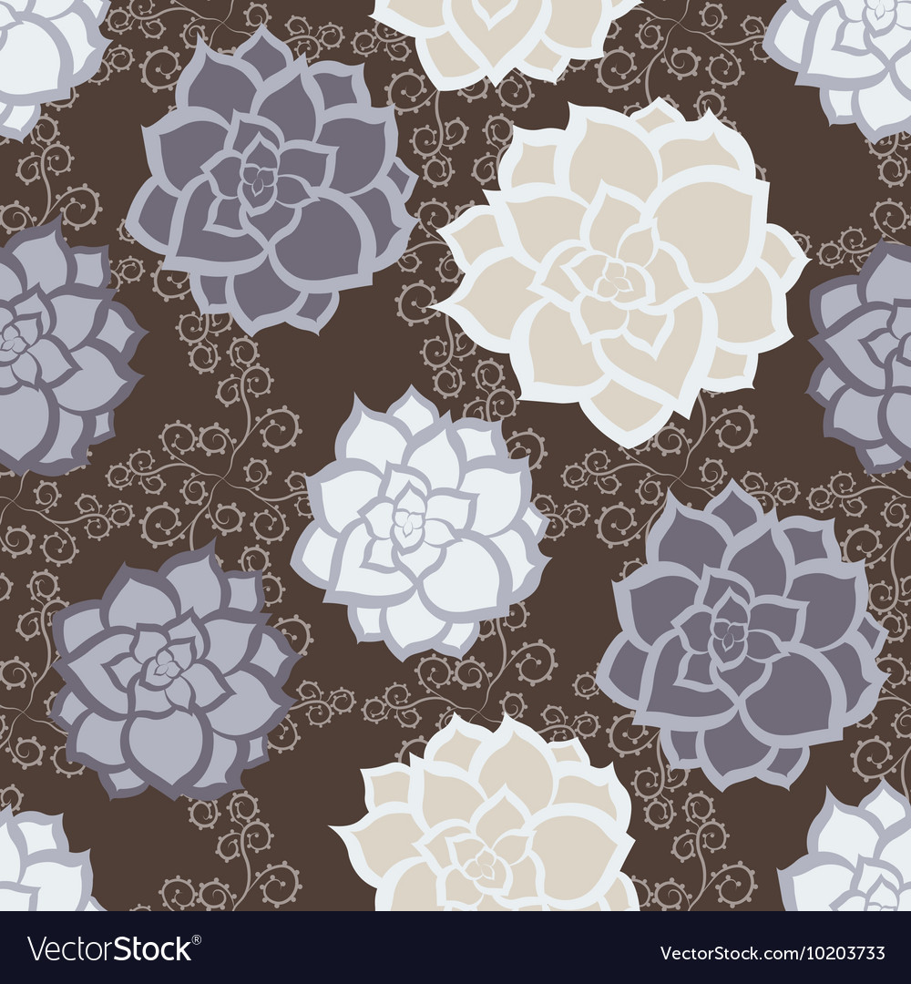 Succulent floral seamless pattern vector