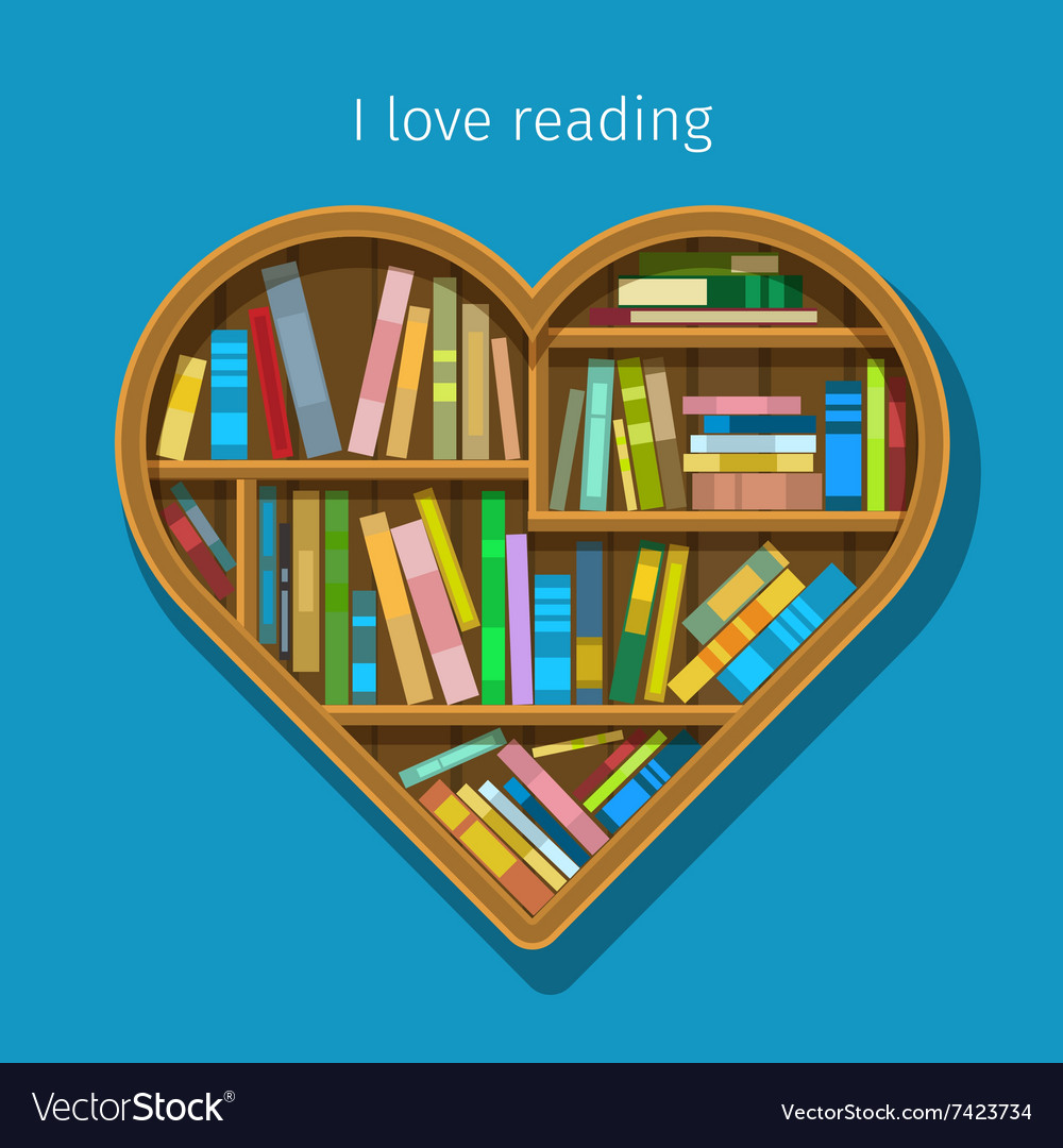 Book shelf in form of heart vector