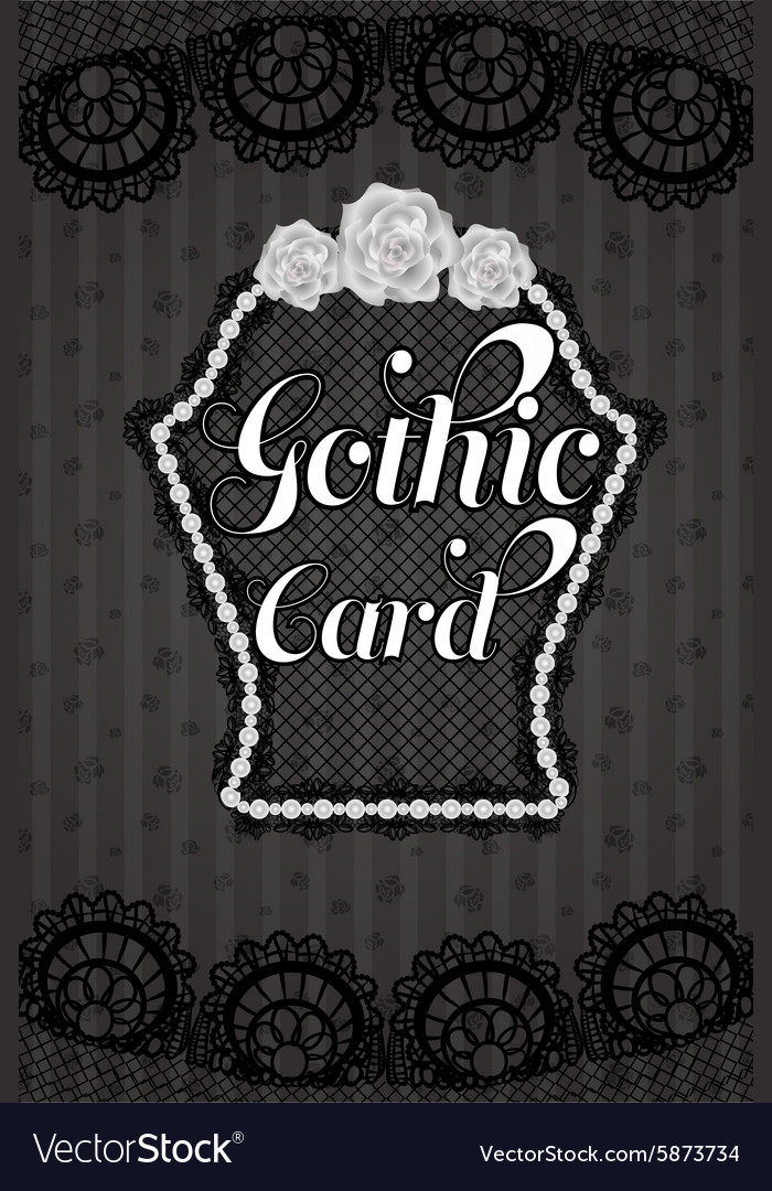Stylish and sexy dark black gothic lace and pearl vector