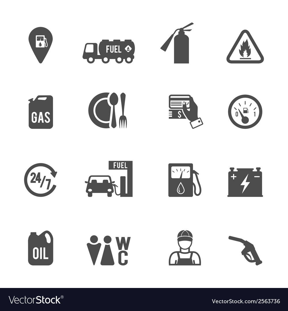 Fuel pump icons set vector