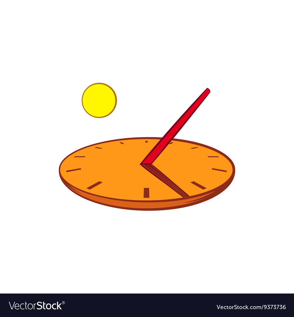 Sundial icon in cartoon style vector
