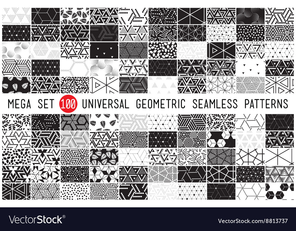 100 universal different geometric seamless vector