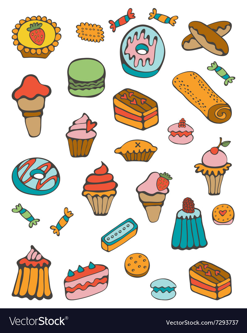 Colorful collection of sweet desserts vector