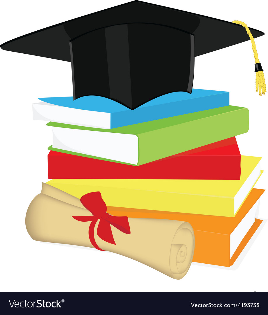 Book stack graduation cap and diploma vector