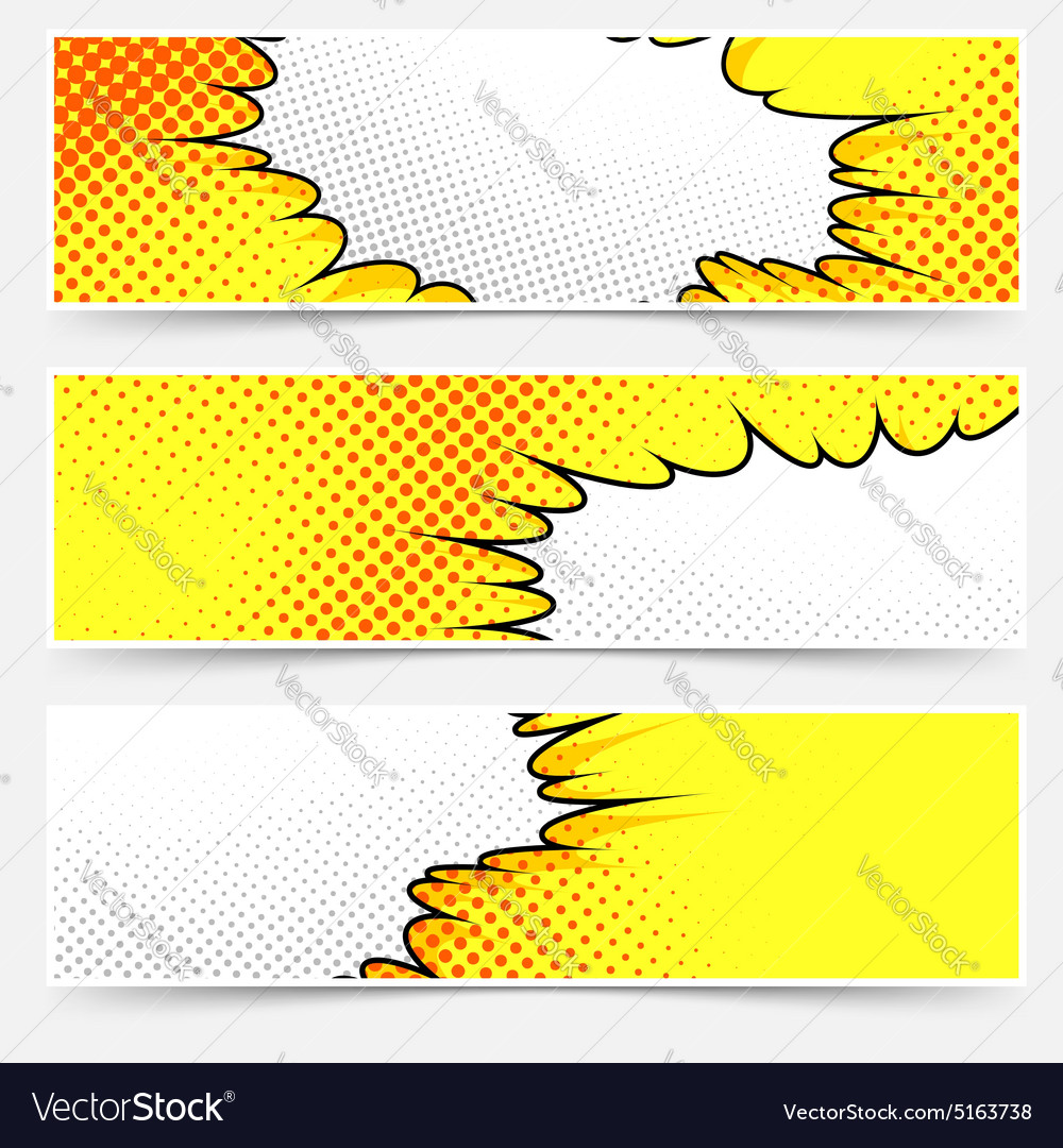 Popart comic book style yellow header set vector