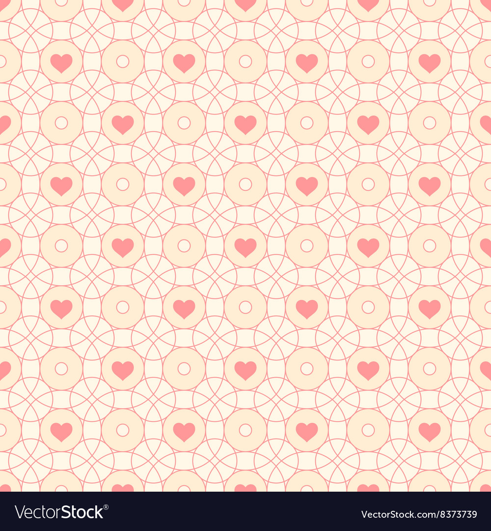 Seamless pattern with hearts and circles vector