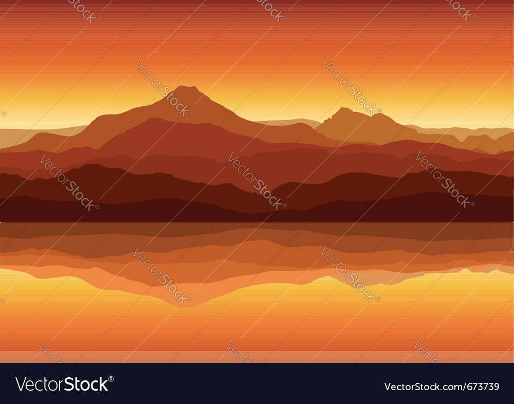Sunset in huge mountains near lake vector