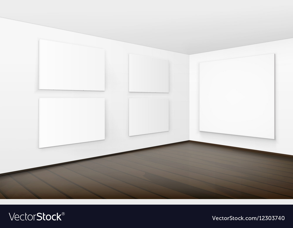 Pictures on walls with wooden floor in gallery vector