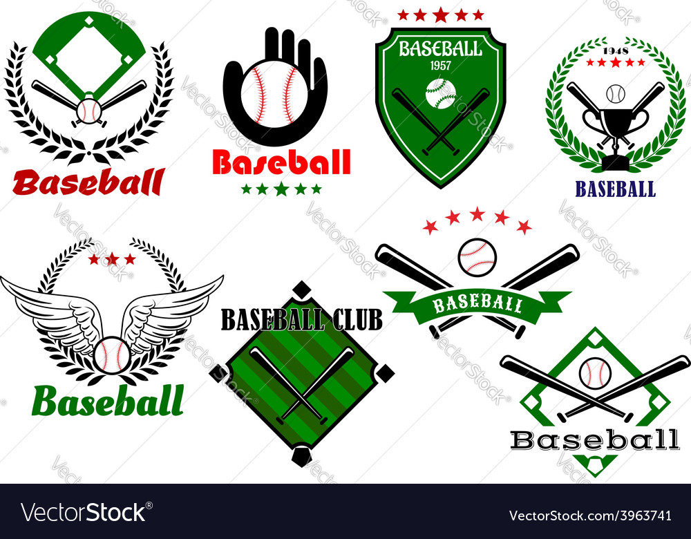 Creative baseball sports emblems and symbols vector