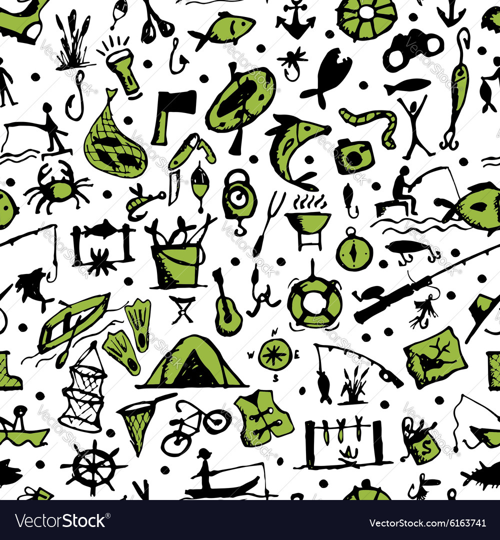 Fishing seamless pattern sketch for your design vector