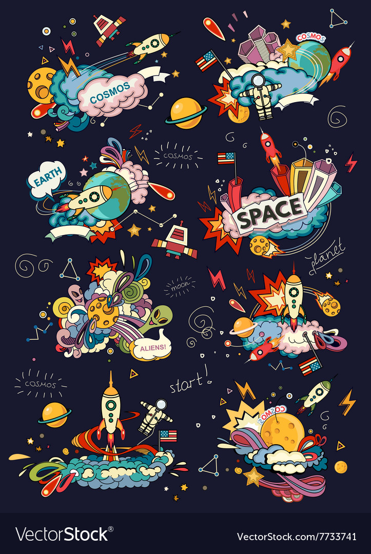 Space cartoon style vector