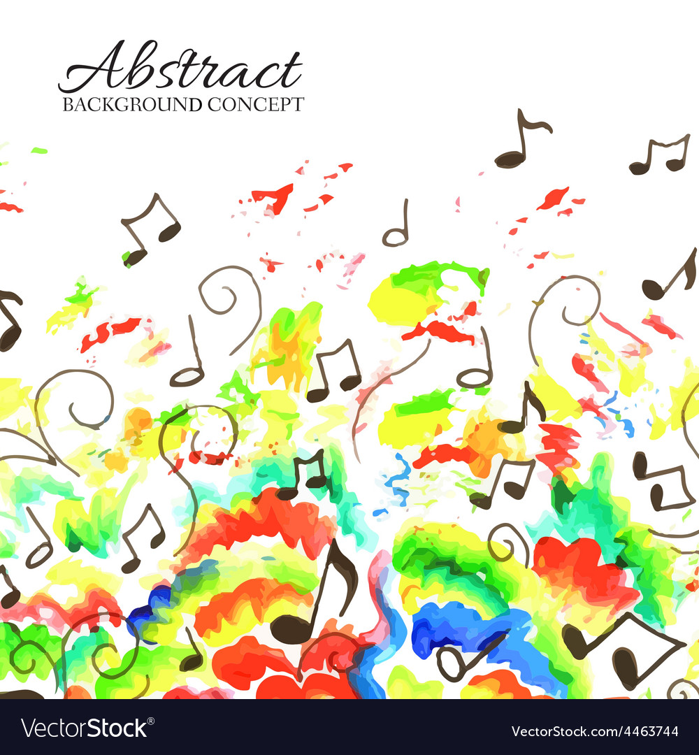 Art colorful music abstract watercolor background vector