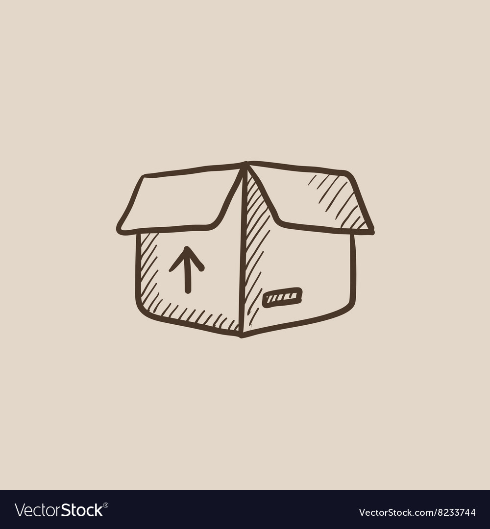 Carton package box sketch icon vector