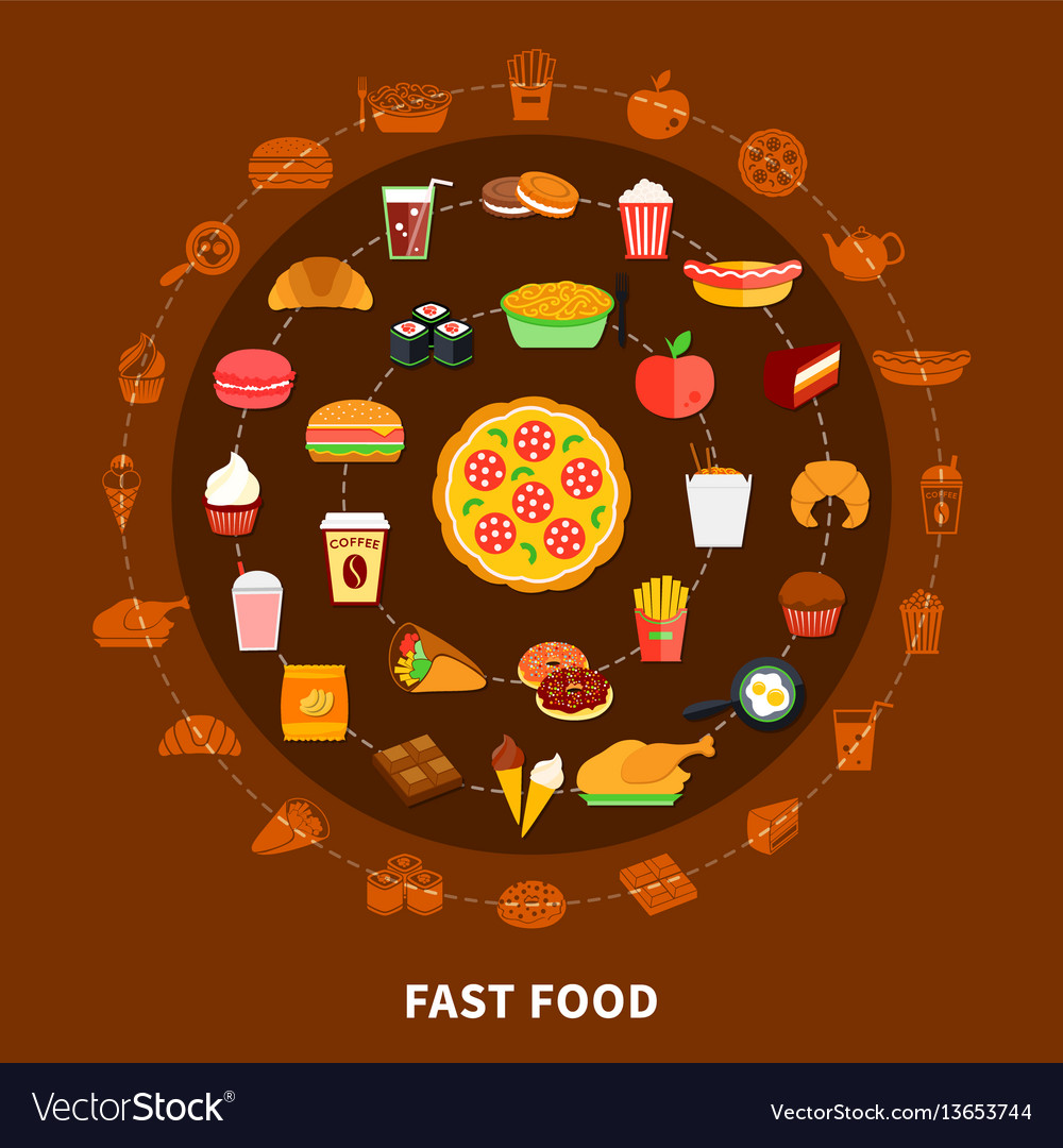 Fast food menu circle composition poster vector