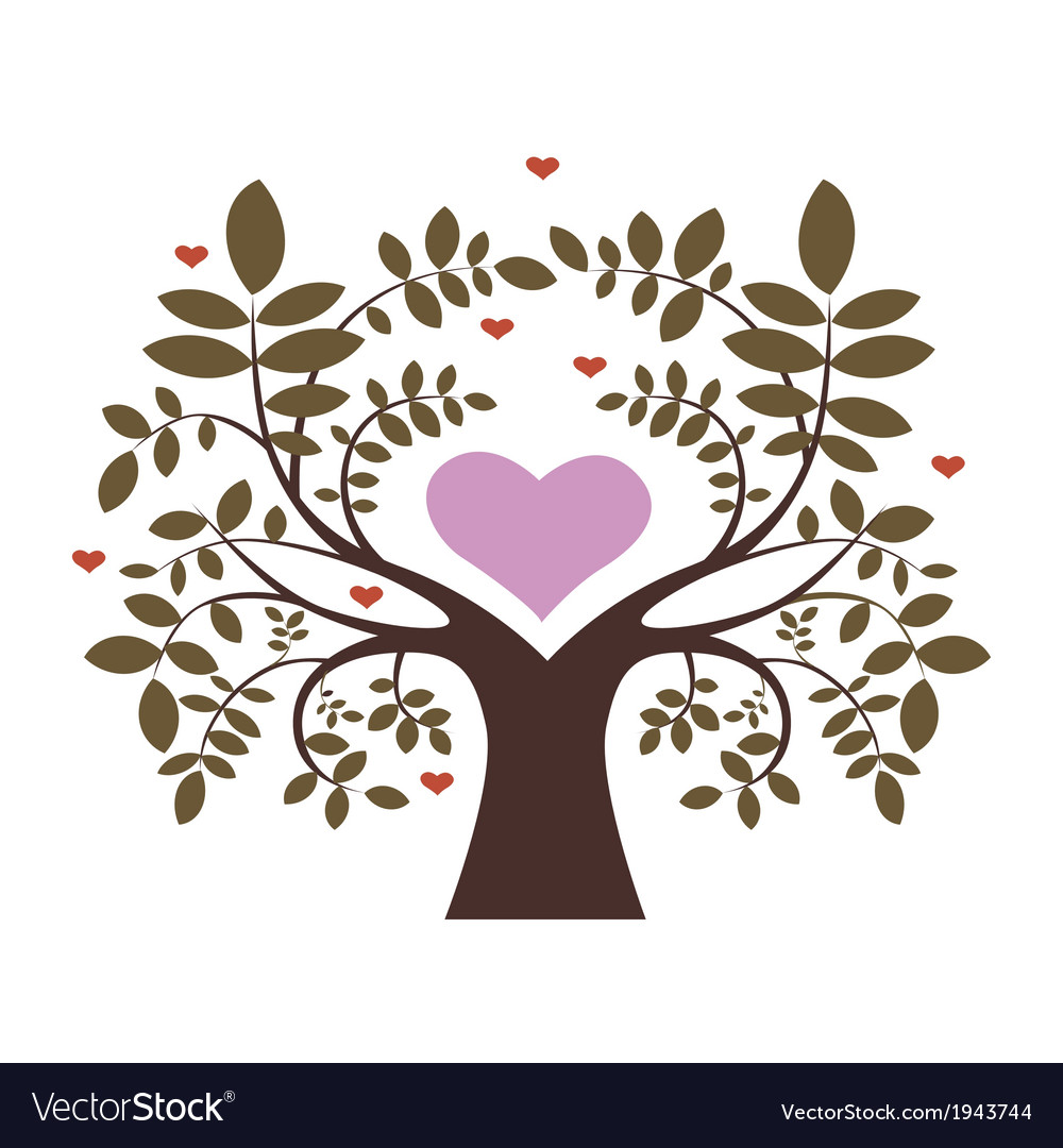 Spring tree with hearts vector