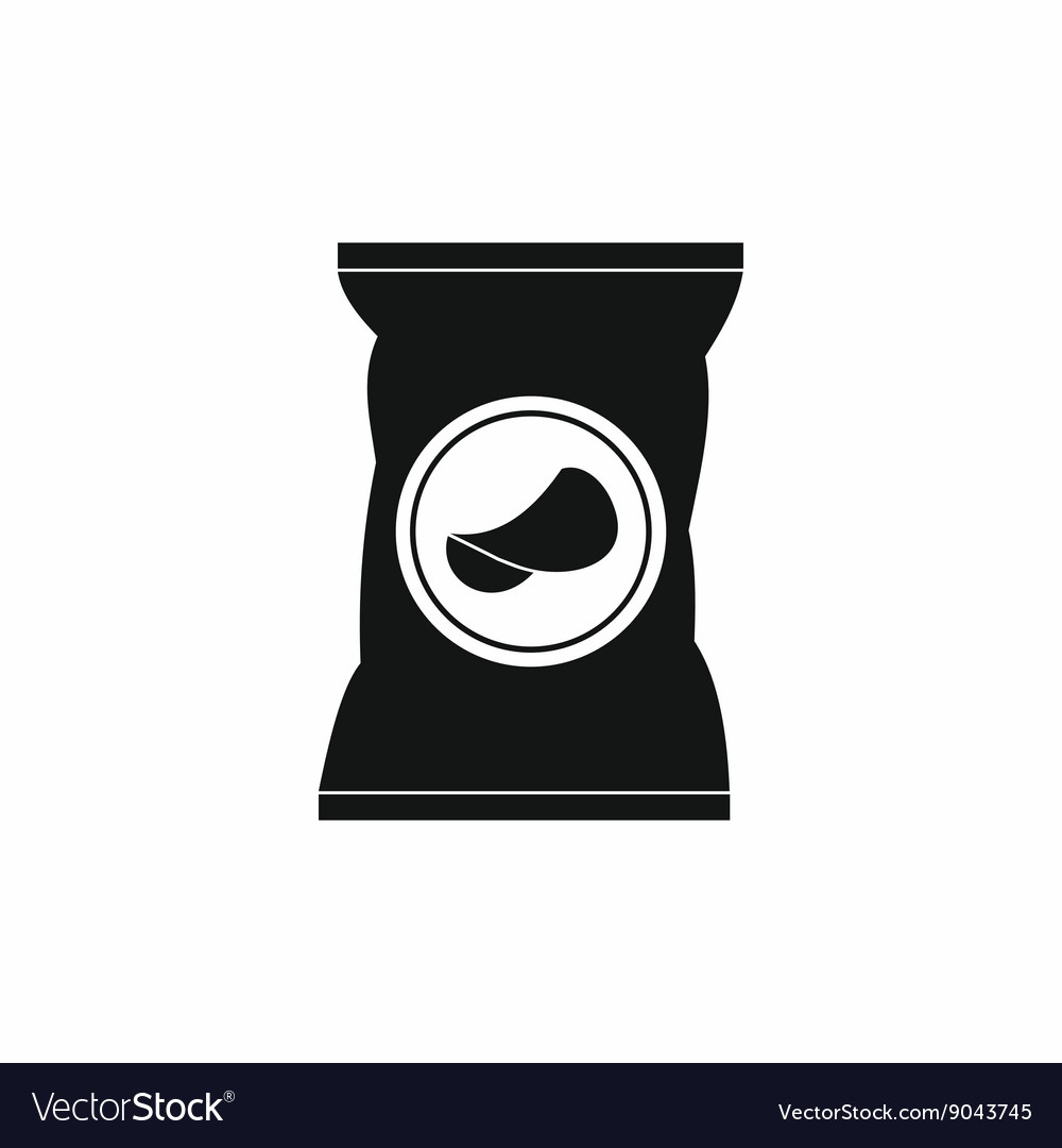 Potato chips bag icon simple style vector