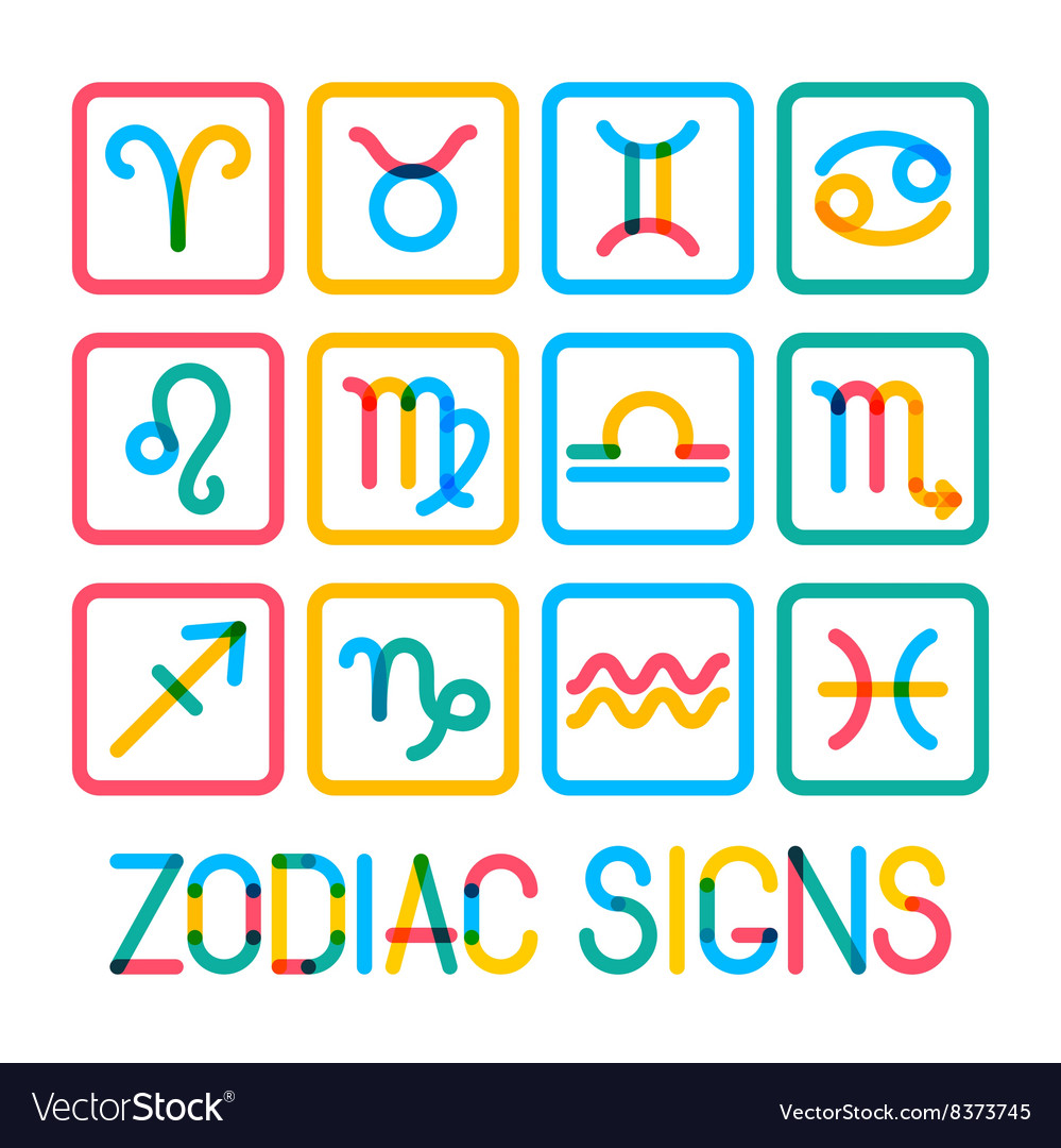 Zodiac signs modern color icons vector