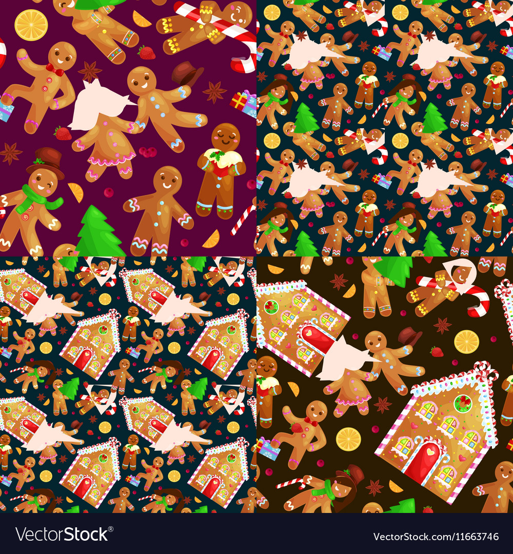 Set christmas cookies gingerbread man decorated vector