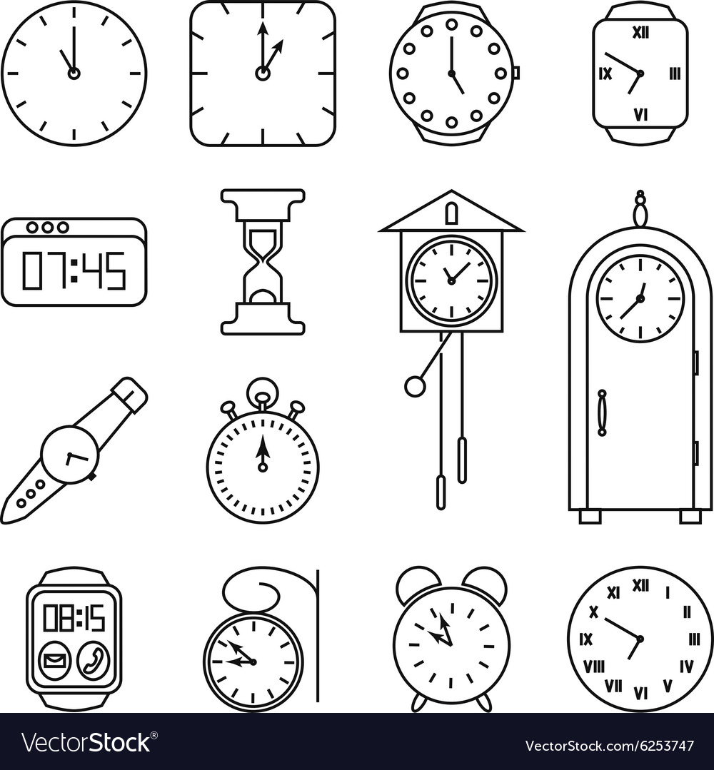 Clock and time line icons set vector