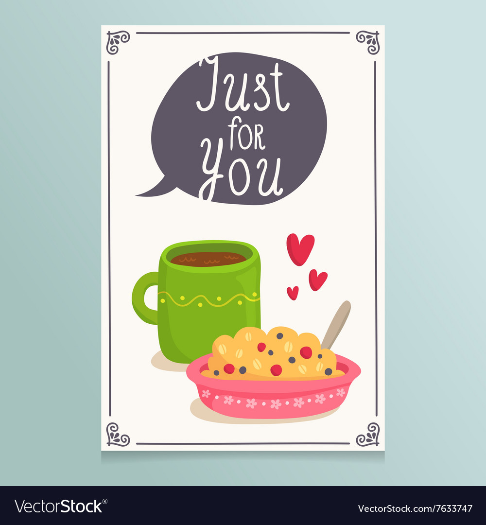 Valentines day greeting card design with romantic vector