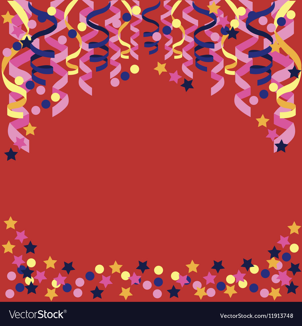 Background with confetti paper streamers vector