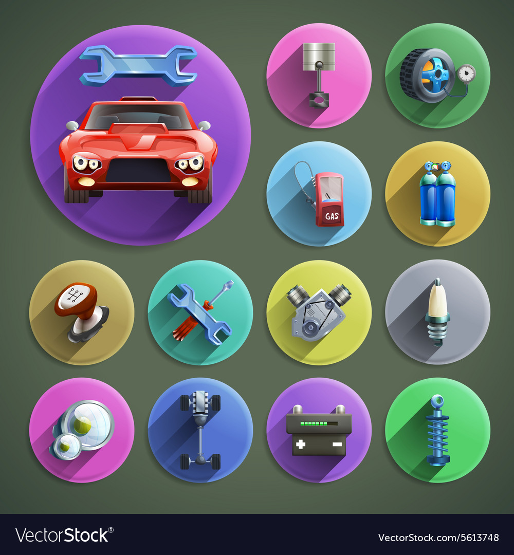 Car repair cartoon icons set vector