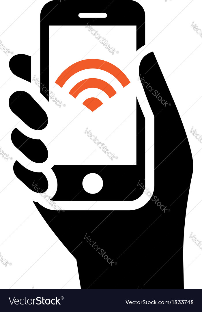 Phone with wifi sign vector