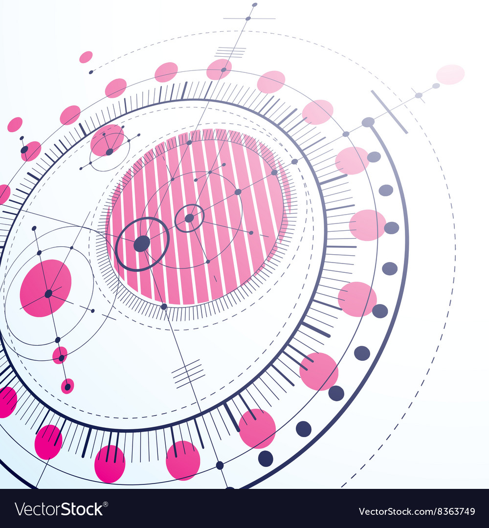 Geometric technology 3d drawing magenta technical vector